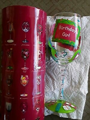 Lolita Birthday Girl Bling Hand Painted  15 Oz Wine Glass With Recipe On Bottom!