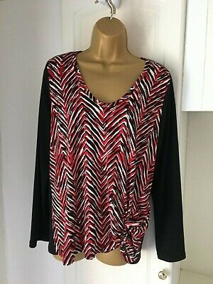 """Karen kane size uk 14-16 black/red/white top with stretch in vg con bust 40-42"""""""