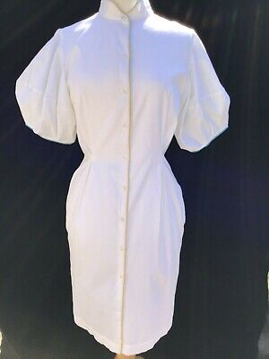 RRP $723! PAUL SMITH UK Designer White Cotton Short Puff Sleeve Shirt Dress 44