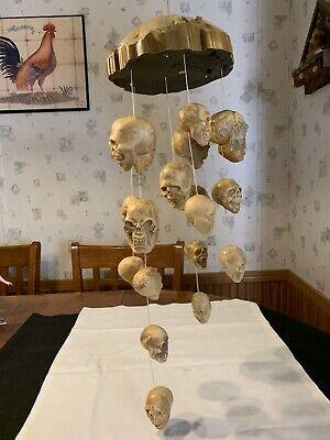 Halloween Vintage Gemmy Shaking Skulls Animated Haunted Wind Chimes #TB11