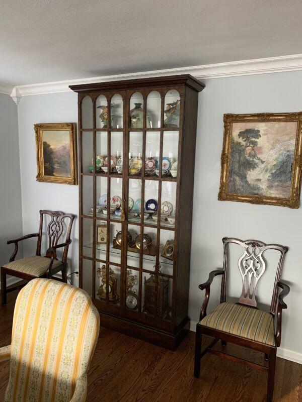 Vintage Baker Furniture Lighted Curio Cabinet - EXC