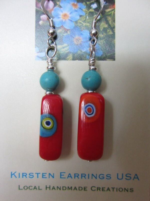 Murano Art Glass Italy VTG Millefiori Long Drop Silver EARRINGS Kirsten USA Made