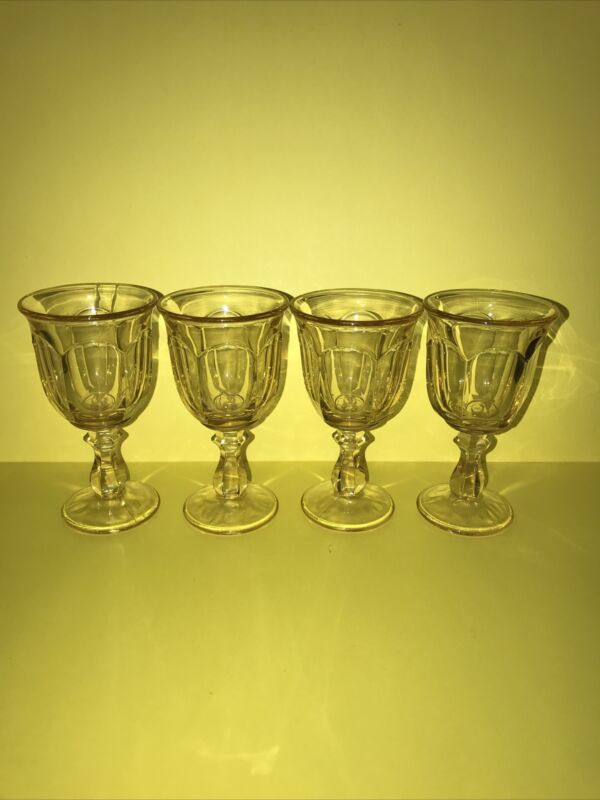 Vintage Imperial Glass Old Williamsburg Yellow Set Of 4 Wine Glasses 5 1/4""
