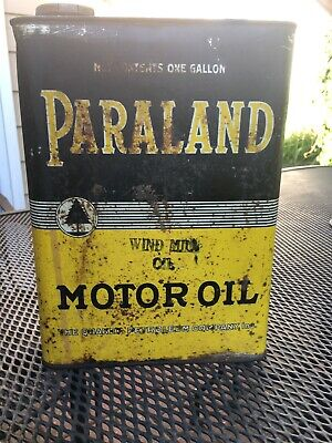 Vintage Paraland Oil Can, 1 Gallon, Fair Condition, Uncleaned, Rare