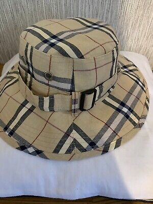Ladies Vintage Hat 70's Style Summer Camel Checks Size S-M