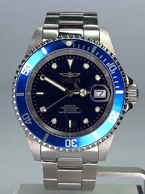 Invicta Pro Diver SS Blue Auto 3 Hand SS Stainless Steel Men's Watch 9094OB