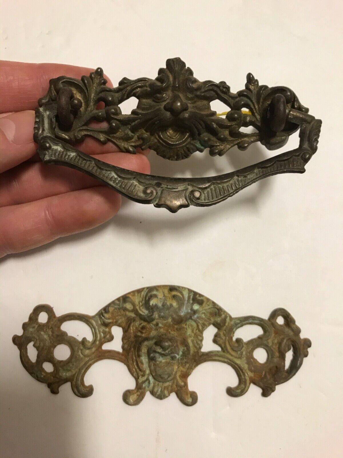 Two Antique Gargoyle Or North Wind Brass Pulls, Knobs, Architectural Interest - $18.00