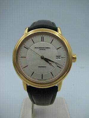 Men's Raymond Weil Maestro Swiss Made Automatic Gold Wristwatch Sapphire Crystal