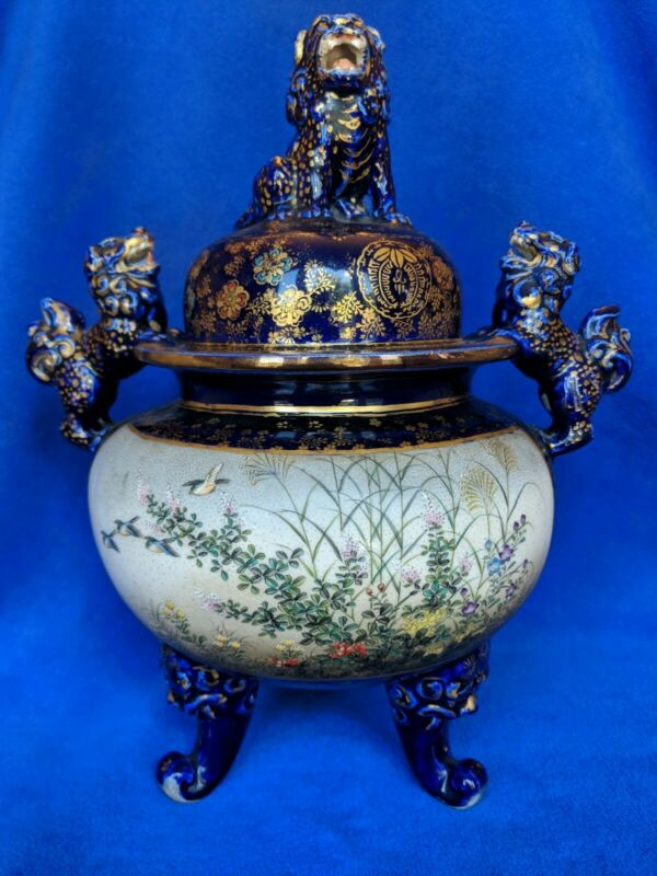 Big Satsuma Cobalt covered urn by Kinkozan.
