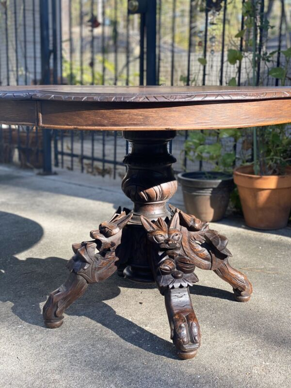 CARVED FOX HUNT ROUND TABLE VICTORIAN GOTHIC