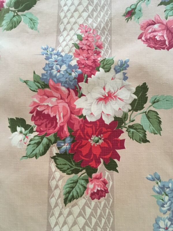 Vintage Floral Lined Barkcloth Drapes