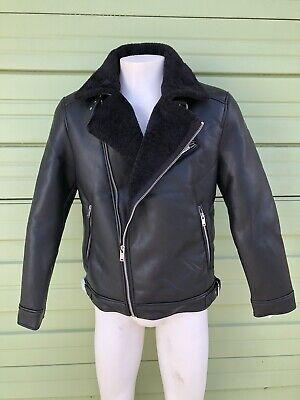 NWT ZARA BLACK FAUX LEATHER Double face biker jacket  3548304 800 L LARGE