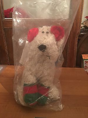 NEW CARESS PET SEALED RUSS BERRIE CURLY THE CHRISTMAS DOG # 864 MINT 13 IN