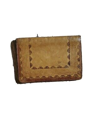 Men's Vintage Leather Bi-Fold Wallet Billfold Mexico Hand Tooled Southwestern