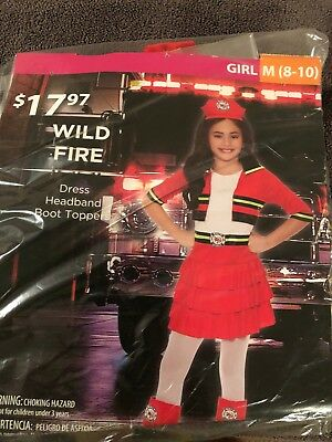 Halloween Costume Girl Wild Fire Fireman Firefighter Medium 8-10](Fire Girl Costume Halloween)