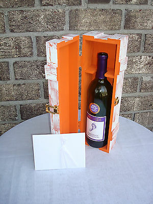 Love Letter Ceremony Wine Box, Wedding Wine Box. ORANGE crackle paint.  - Wine Ceremony