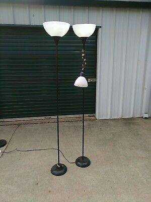 - 2 Black Floor Lamps One With Adjustable Reading Lamp