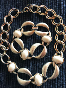 Vintage Gold-Coloured Necklace and Bracelet with White Stones
