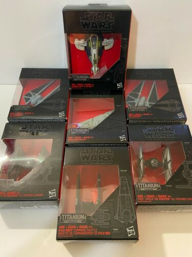 Star Wars The Black/Titanium Series Lot of 7 (Slave 1, TIE, Star Destroyer, etc)