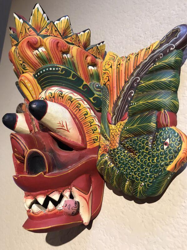 Wood Carved Hand-painted Sri Lankan Raksha Mask