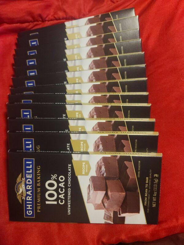 Ghirardelli-Premium Baking Bar - 100% CaCao Unsweetened Chocolate, Pack of 12...
