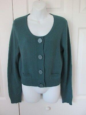 HWR Monogram Anthropologie Button Elbow Patch Sweater Sz L Blue Crop Sweater