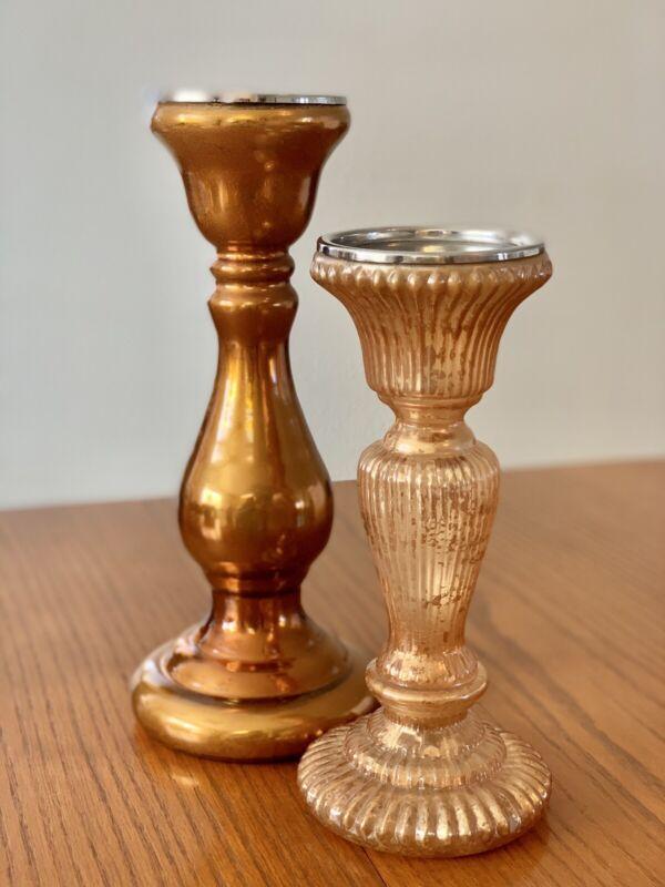 2 Pottery Barn Mercury Glass Pedestal Taper Pillar Holiday Candle Holders RARE