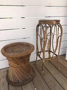 2x Vintage cane stools/plant stands