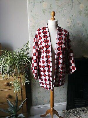 Vintage boho diamond pattern Japanese kimono jacket blue cream m l coat hippie