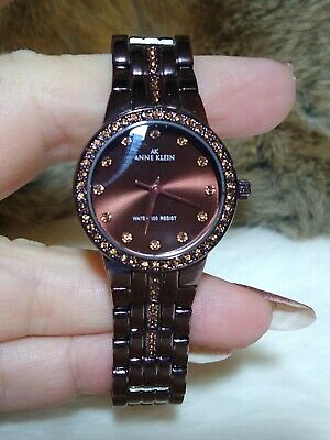 ANNE KLEIN WOMENS COPPER TONE LINK BAND WATCH-FAUX COPPER DIAMOND ACCENT-WR