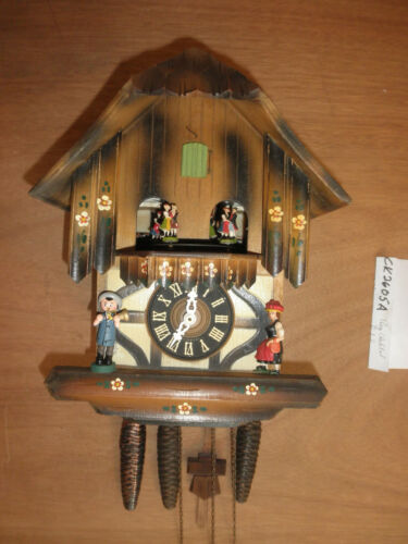 German made working SEE VIDEO musical Chalet  1 Day Cuckoo Clock CK2605A