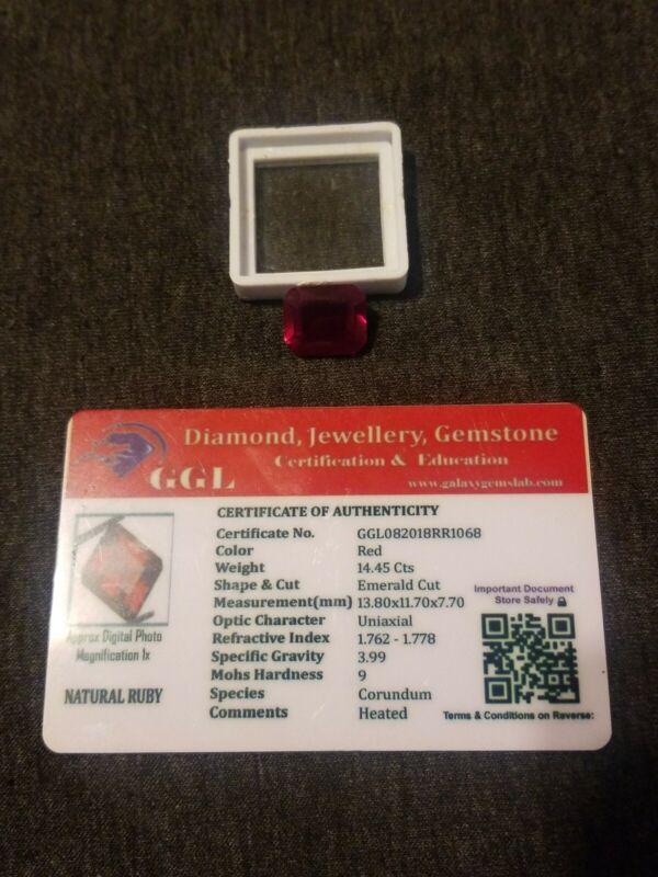 NATURAL CERTIFIED GEM TESTED RED RUBY 14.45 CARATS