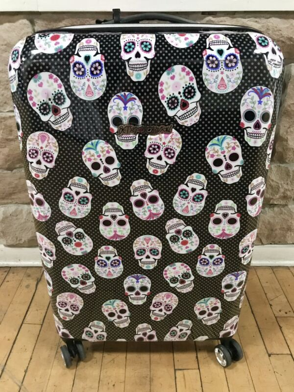 Betsey Johnson Sugar Skull Party Rolling Suitcase Carry-On Luggage