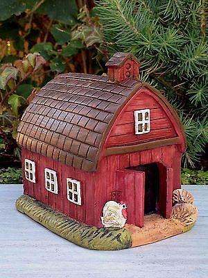 Miniature Dollhouse Fairy Garden   Mini Red Farm Barn House   New