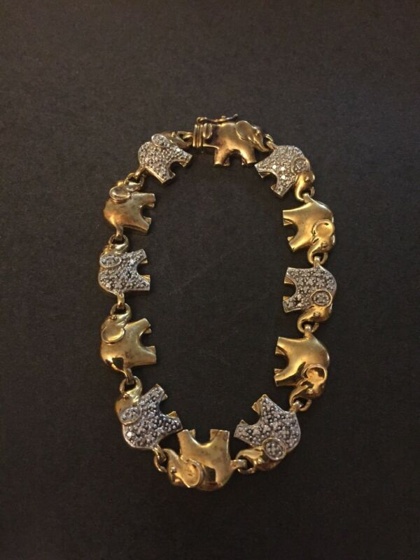 Vintage Sterling Silver Diamond Elephant Link Bracelet