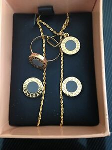 Bvlgary 18k Saudi Gold Necklace Ring Earring 3 Set  New