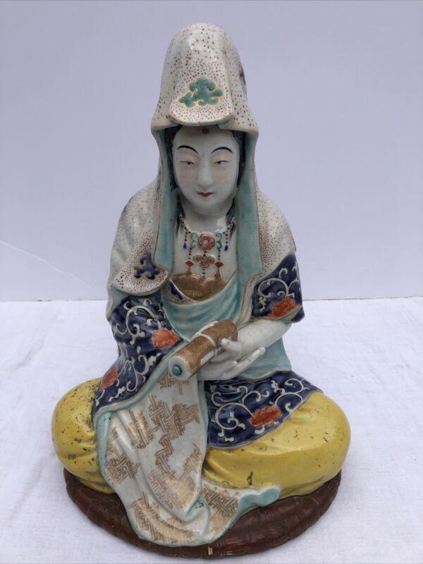 Old Japanese Kutani Porcelain Kannon Quan Yin Kwan Yin Buddha Figure Figurine