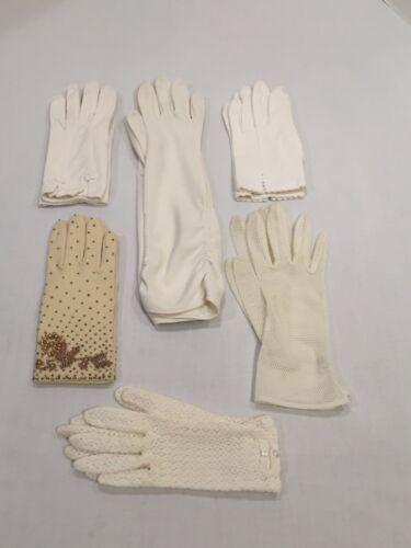 1 Pair Unused Off White Gold Beaded 100% Nylon & 5 Pair Vintage White Gloves
