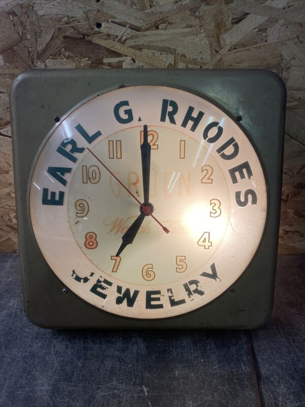 "Vintage Gruen Watch Time Wall Clock Bubble Glass Front Early Rare 15.5"" Lighted"