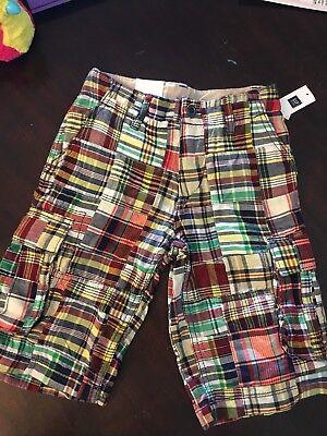 GAP Kids Boys Madras Plaid Cargo Shorts Adjustable Waist Cotton