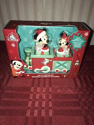 2020 Disney Parks Christmas Holidays Mickey Minnie TRAIN Salt Pepper Shaker Set