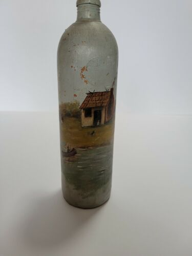 VINTAGE FOLK ART HAND PAINTED STONEWARE JUG  A stoneware jug from the late 19th