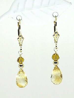 14k Yellow Gold Filled Citrine Briolette and Swarovski Crystal Dangle Earrings