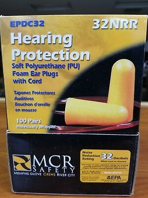 100 Pairs Soft Polyurethane Pu Foam Ear Plugs With Cord - Mcr Safety - 32nrr