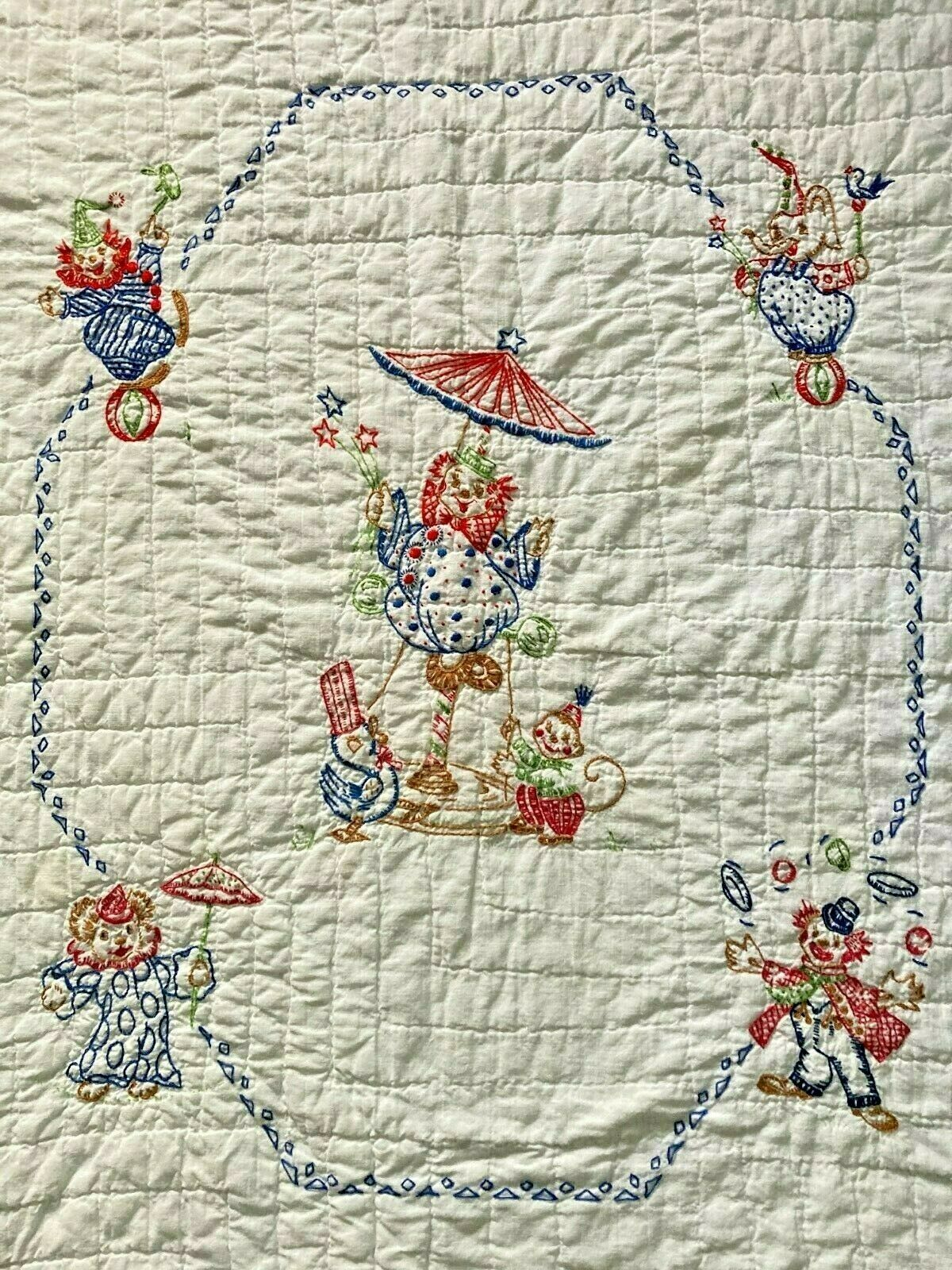 Baby Quilt Hand Made Animals Clown Circus Embroider White Red Vintage 35 X 48 K - $49.50