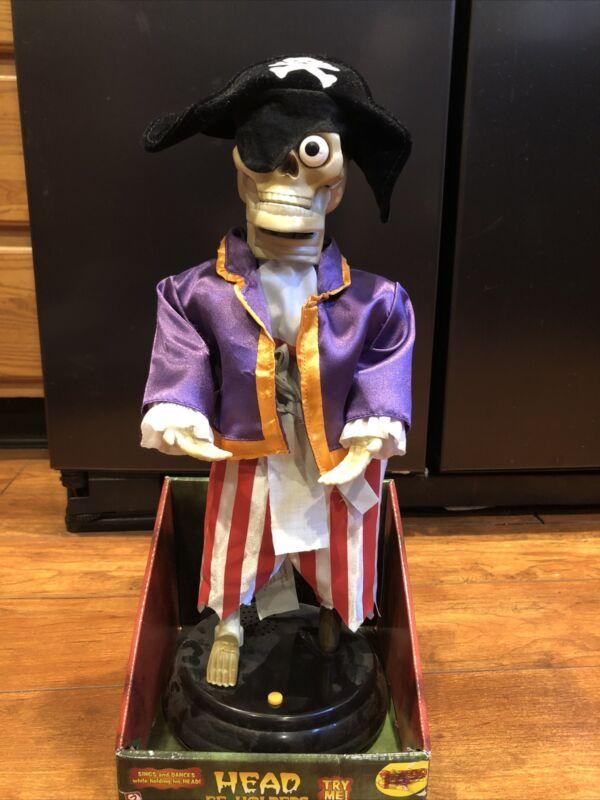 New*Gemmy Animated Head-Be-Holders Pirate Skeleton Sings & Dances*Halloween