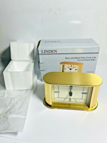 Solid Brass and Metal Table Clock w/ Curved Fluted Sides TGO-1336