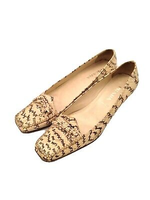 Womens - PRADA - VTG White Brown Python Snakeskin Kitten Heel Loafers 6.5 37