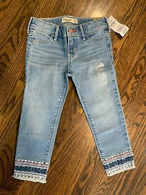 Abercrombie Kids Girls Ankle Length Jeans With Blue & Pink Detail NWT 5/6
