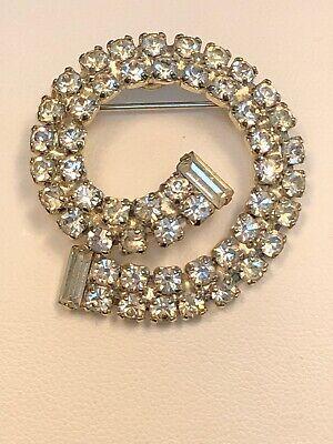 "Vintage Pin Brooch Silver Tone Swirl circle baguette Prong Set rhinestone 1.5"""